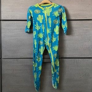 Kickee Pants 9-12 mo zip footie in teal/lime cacti